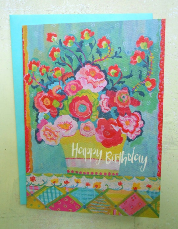 Pink Peony Bright birthday card by Kimberly Hodges, Happy birthday greeting card, bday card, floral birthday card, 5 x 7 card