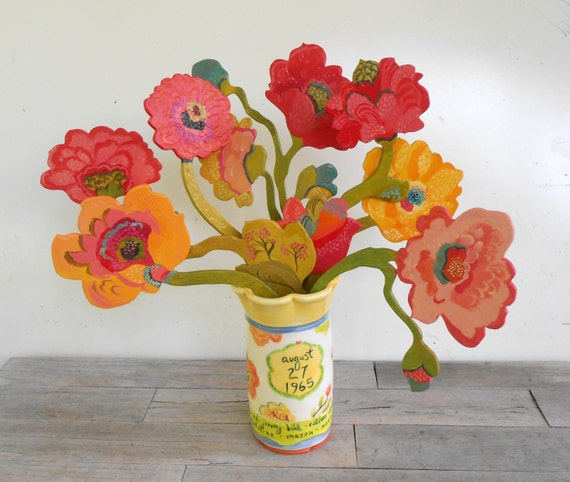 Anniversary wooden flowers and personalized vase by Kimberly Hodges, 25th anniversary, wedding gift, wedding anniversary, anniversary gifts