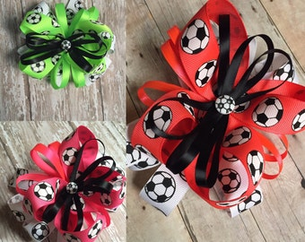 Soccer Bow, Neon Colors, Green, Pink or Orange, Fast Shipping
