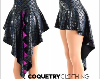 Holographic Dragon Tail Skirt in Black Dragon Scale with Fuchsia Sparkly Jewel Spikes & Hi Lo Hemline 152878