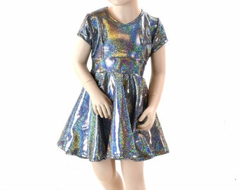 Toddlers and Girls Size 2T 3T 4T and 5-12 Silver Holographic Metallic Cap Sleeve Skater Dress 152283