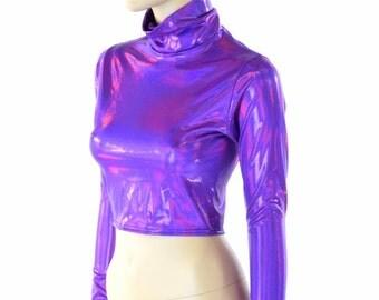 Long Sleeve Grape Purple Holographic Turtle Neck Crop Top Rave Festival Clubwear 152307