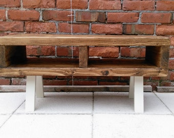 Tv stand contemporary rustic industrial tv unit or coffee table legs finished in a light Cream