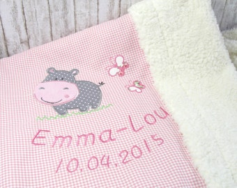 Baby personalized baby blanket, baby blanket with Hippo for girls