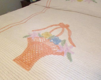Vintage Chenille Bedspread - Full Size Bed - Flower Basket in White with Peach, Blue, Yellow, Pink and Green