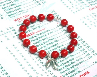 fortune cookie bracelet, fortune cookie charm, red coral bracelet, foodie gift, chef gift, asian jewelry, food jewelry, fortune cookie