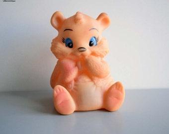 Vintage Squaeky Rubber Toy Honey Bear