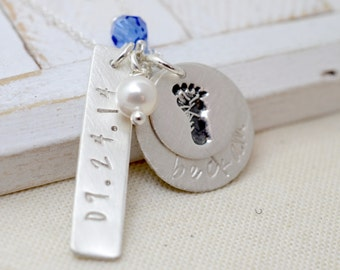 New Mommy Necklace - Baby Footprint Necklace - Mother's Day Jewelry - Personalized Necklace - Gift for Mothers - Push Gift Ideas - Mom Gift