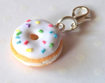 Donut Charm, Food Charm, Polymer Clay Food, Stitch Marker, Progress Keeper, Planner Charm, Planner Accessory