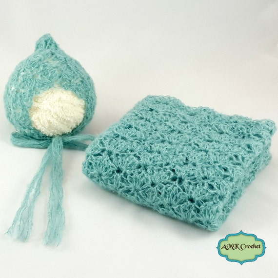 Pattern Crochet Newborn Baby Lace Shell Bonnet Hat by ...