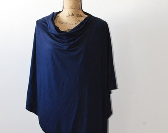 Navy Poncho/ Nursing Cover/ Nursing Shawl/ Breastfeeding Cover/ One shoulder Top/ New Mom Gift/ Womens Poncho
