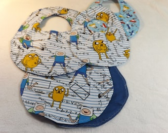 baby bib, newborn bib, and burp cloth made from Adventure Time Math time flannel w/ blue flannel backing making it reversible