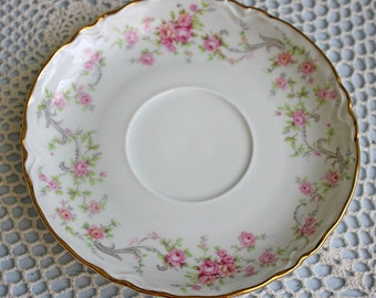 Hutschenreuther Saucer Replacement.  Bavarian Tea Set Part with Tiny Pink Roses. Marked by Hutschenreuther, Selb, and Number 46.