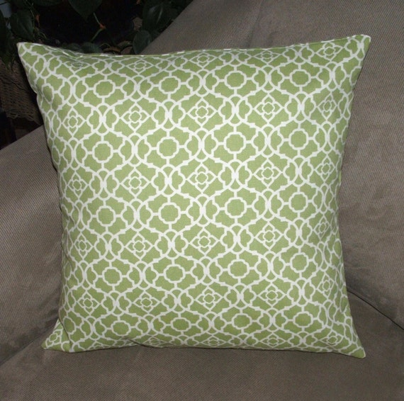 Soft Decorative Throw Pillows : Soft Green and White Decorative Pillow by PearBlossomCreations