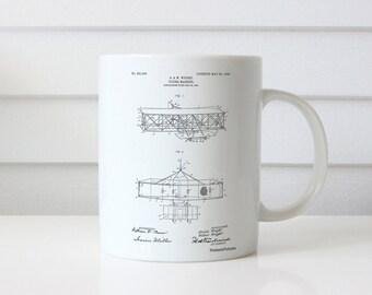 Wright Brother's Aeroplane Patent Mug, Aviation Nursery, Pilot Gift, Airplane Decor, Airplane Baby, Aviation Gift, PP1139