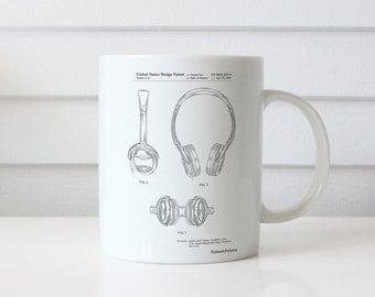 Noise Canceling Headphones Patent Mug, Music Lover Gift, Teen Room Decor, DJ Mug, PP0543