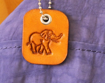 Elephant Bag Charm, Leather Bag Tags, Gift For Friend, Elephant Bag Tag Gift For Girlfriend, Elephant Gift For Sister Leather Keychain EM141