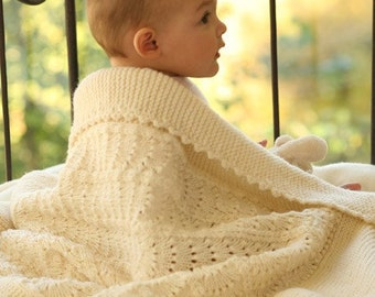 Heirloom Knit Baby Blanket, Baby Afghan, Boy or Girl, Christening Blanket