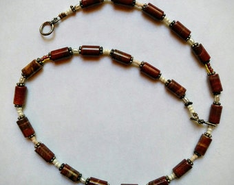 beaded necklace in reddish brown