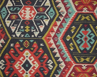 SHIPS SAME DAY P Kaufmann Longrock Fiesta Home Decor Fabric, Gray Orange Citrine Aztec Designer Fabric, Upholstery Fabric - By the 1/2 Yard
