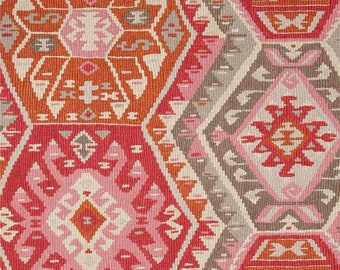 SHIPS SAME DAY P Kaufmann Longrock Canyon Rose Home Decor Fabric, Pink Orange Faux Kilim Fabric, Orange Cream Drapery Fabric - By the Yard