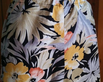 Handmade cotton pants with tropical floral pattern size 18