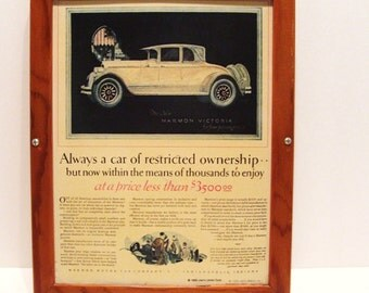 1969 Reproduction Car Ads x3 from 1920s Liberty Library Framed