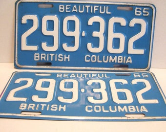 Pair 1965 British Columbia Licence Plates Canada Vintage White on Blue 299-362