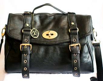 Black Faux leather hand/cross body bag