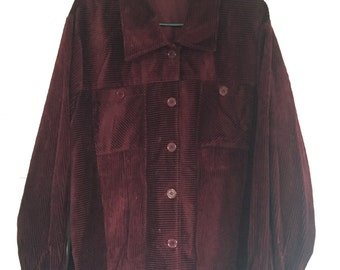 vintage maroon corduroy button up oversized jacket womens