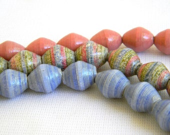 Paper Bead Jewelry Supplies - Paper Beads - Hand painted - Lot of 30 - #703