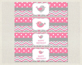 Printable Water Bottle Labels Wraps Birthday Bird Gray 1st 2nd 3rd Pink Girls IV-9