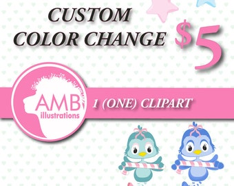 80%OFF Custom color change for 1 (one) non-exclusive clipart, custom color for purchased clipart, re-colour AMBillustrations