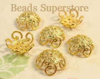 SALE 10 mm x 4.5 mm Gold-Plated Brass Flower Bead Cap - Nickel Free and Lead Free - 20 pcs