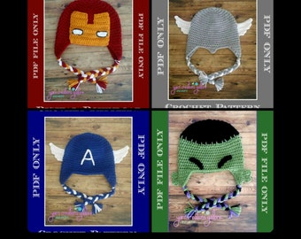 Crochet Avengers Hat Pattern PACK ** PDF Files ONLY*** Instant Download