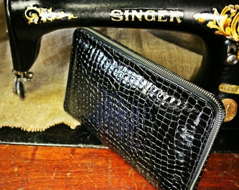 Black leather clutch wallet