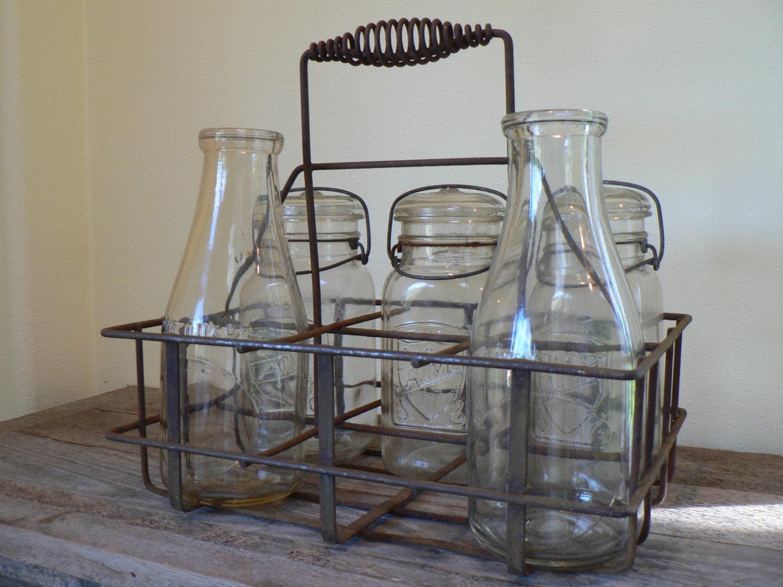 antique metal milk bottle carrier metal bottle and jar. Black Bedroom Furniture Sets. Home Design Ideas