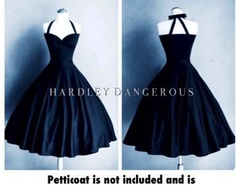 "Made to Measure,  Black CHERRYBOMB Halter Dress 38"" Length, handmade by HARDLEY DANGEROUS, 1950s Rockabilly Bridesmaid Dress, Pin Up"