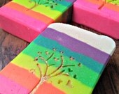 Juicy Fruit Neon Rainbow Soap with Colloidal Oatmeal, Cream, Tussah Silk Luxurious