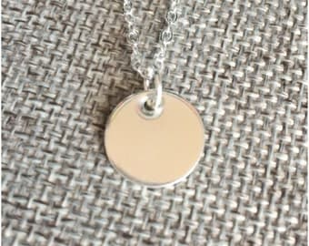 Silver Disc Necklace - Small One Disc Jewelry - Dainty Necklace - Sterling Silver Disc and Chain - Silver Coin Necklace - Smooth Texture