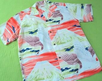 1950s Hawaiian Rockabilly Aloha Shirt Sun Surf repro Japan X-LARGE