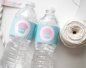 Cupcake Birthday Party Water Bottle Wrappers, Pink and Aqua Cupcake Water Bottle Wrappers, Pink Cupcake Party Printable
