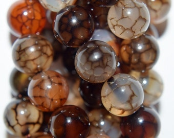 "Natural (not dye) Dragon Veins Agate Beads - 8 mm Beads - Full Strand 15 1/2"", 47 beads, AA-Quality"