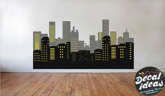Batman Skyline Decal Skyline Wall Decal Batman Stickers