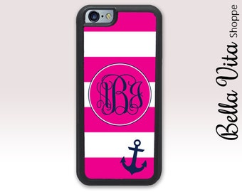 Hot Pink Stripes Anchor Monogram iPhone 6 Case, Monogrammed iPhone Case, Monogram iPhone 6S Case, Personalized iPhone Case 1238 I6S