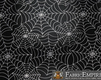 100% Cotton Fabric Quilt Prints Spider Web Black and White Licensed Sold By The Yard N-Cotton-84-OT