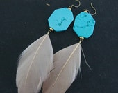 60% OFF SALE Turquoise  Feather Earrings