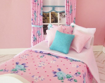Handmade 12th scale doll house bedding set for a single bed 6 piece pink and turquoise florals