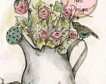 Watering Can & Florals No.1 - Artist Print - ACEO