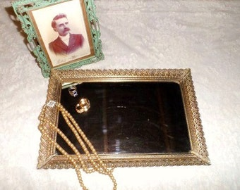 Rectangular Metal MIRROR Vanity Tray- Dresser Tray- Decorative Metal Tray with Mirrored Bottom-Vintage Vanity Accessory- Simply Shabby Decor